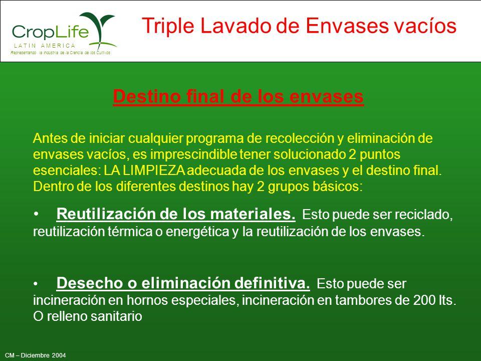 L A T I N A M E R I C A Representando la Industria de la Ciencia de los Cultivos CM – Diciembre 2004 Triple Lavado de Envases vacíos Destino final de