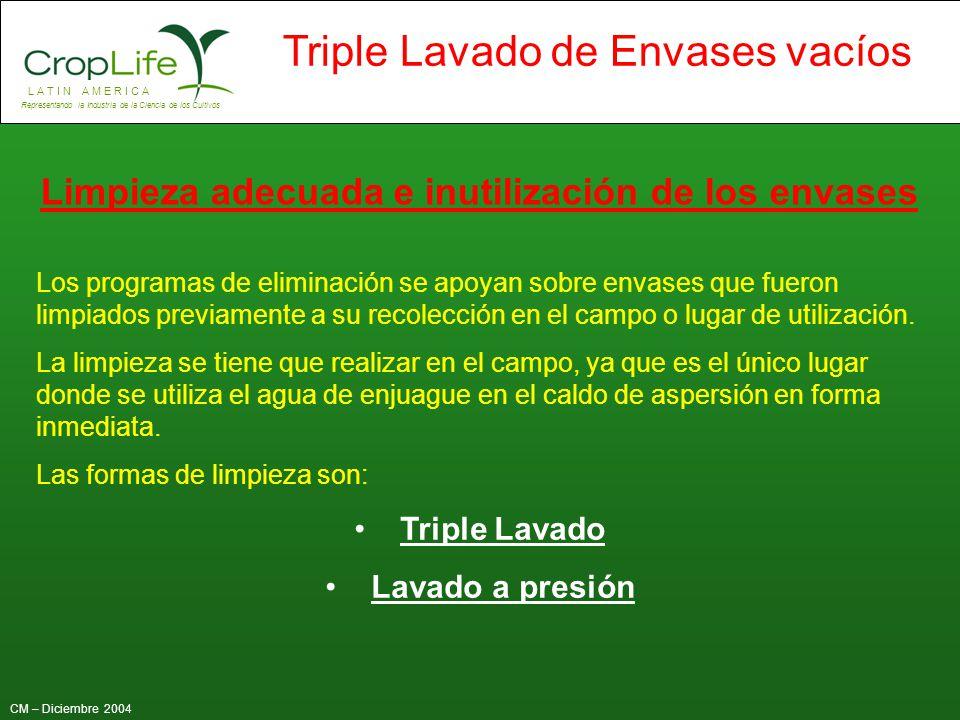 L A T I N A M E R I C A Representando la Industria de la Ciencia de los Cultivos CM – Diciembre 2004 Triple Lavado de Envases vacíos Limpieza adecuada