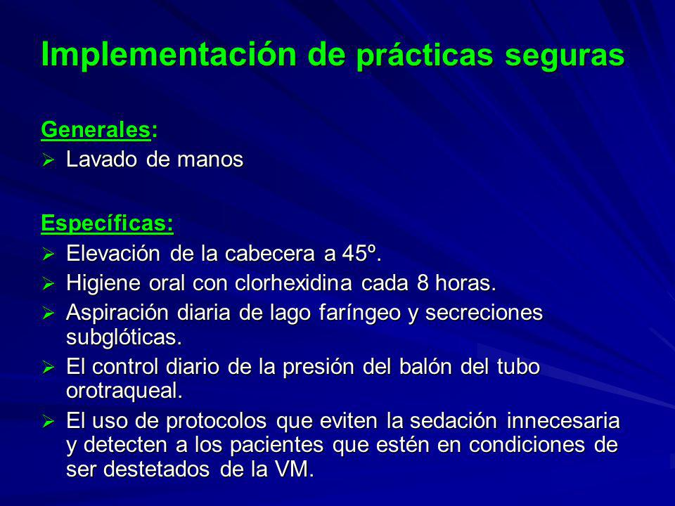 Implementación de prácticas seguras Generales: Lavado de manos Lavado de manosEspecíficas: Elevación de la cabecera a 45º.