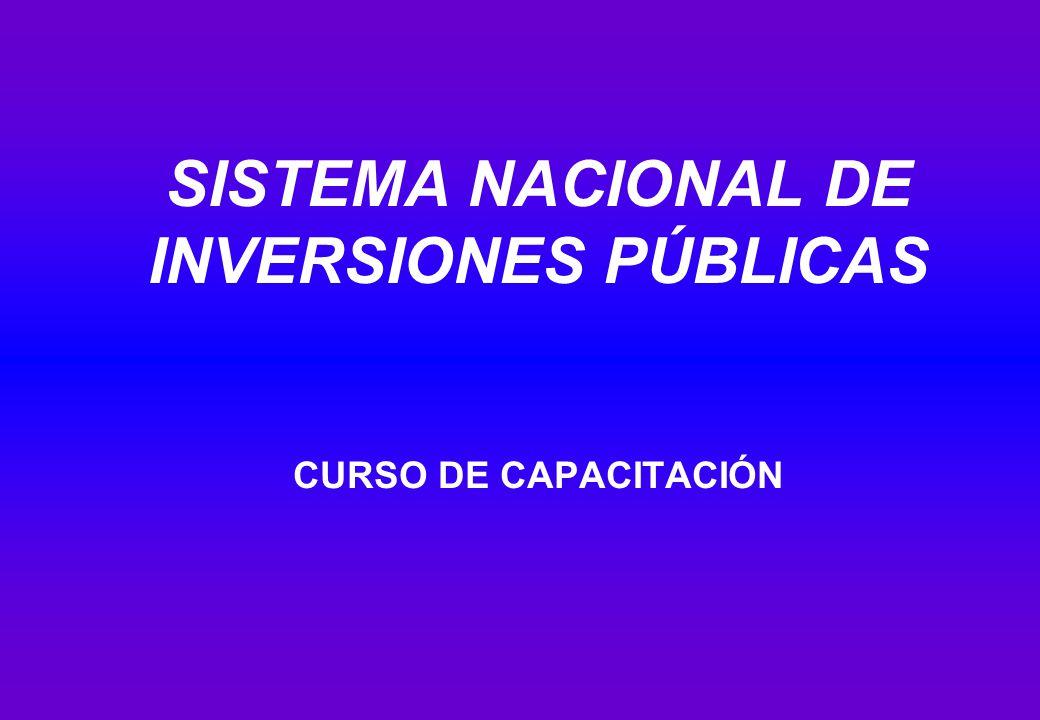 SISTEMA NACIONAL DE INVERSIONES PÚBLICAS CURSO DE CAPACITACIÓN