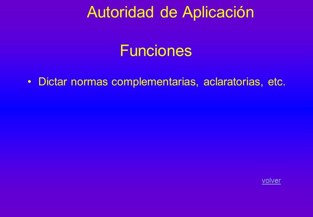 Autoridad de Aplicación Funciones Dictar normas complementarias, aclaratorias, etc. volver
