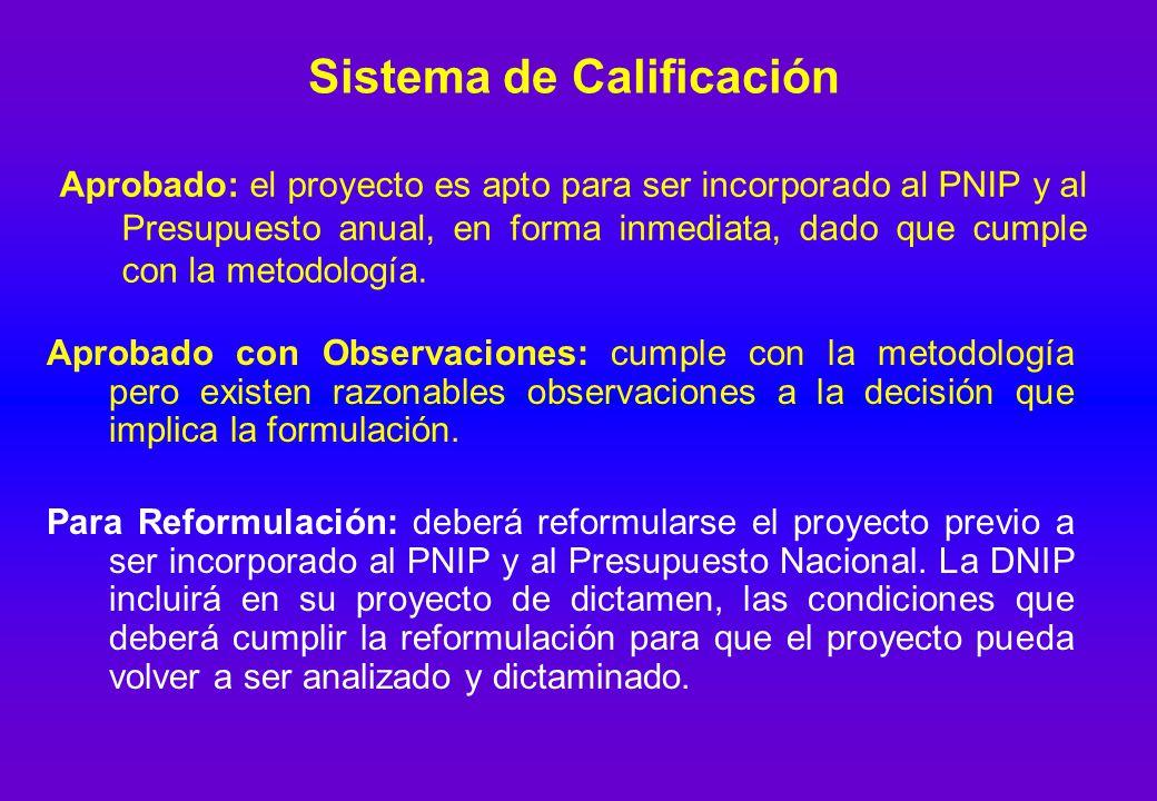 Sistema de Calificación Aprobado: el proyecto es apto para ser incorporado al PNIP y al Presupuesto anual, en forma inmediata, dado que cumple con la metodología.