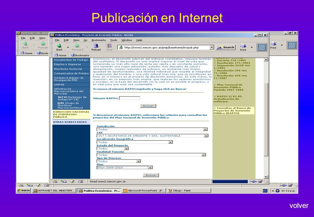 Publicación en Internet volver
