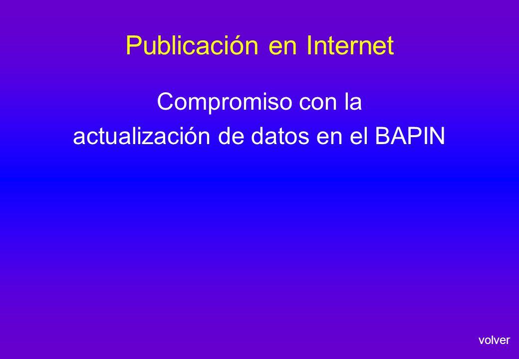 Publicación en Internet volver Compromiso con la actualización de datos en el BAPIN