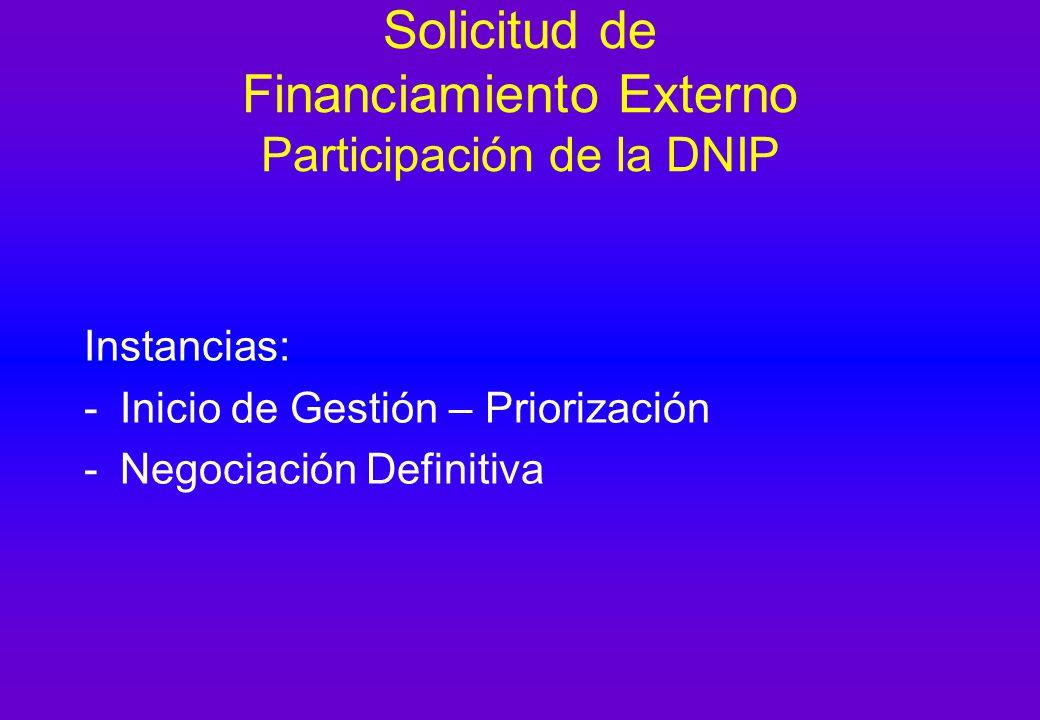 Solicitud de Financiamiento Externo Participación de la DNIP Instancias: -Inicio de Gestión – Priorización -Negociación Definitiva