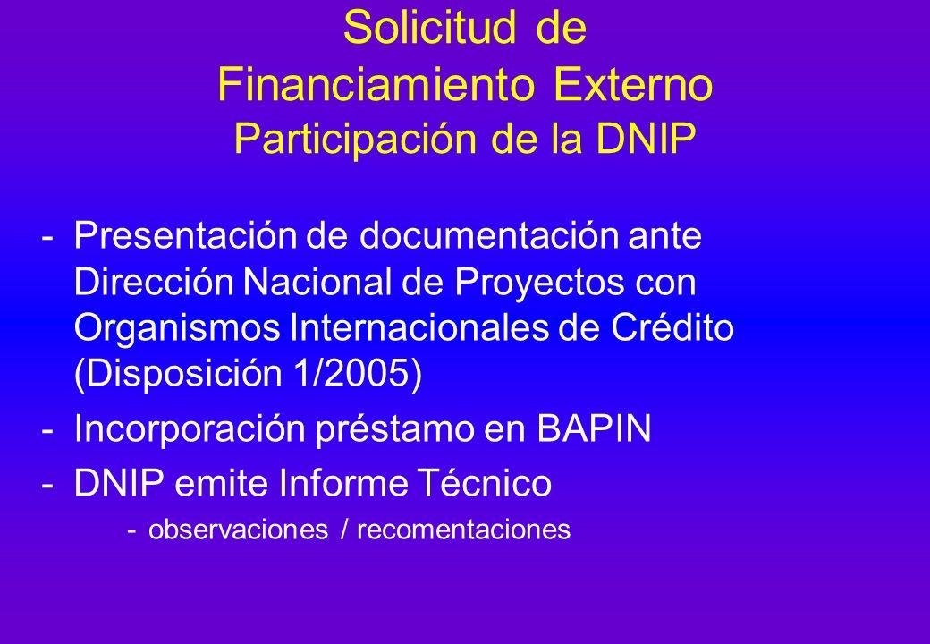 Solicitud de Financiamiento Externo Participación de la DNIP -Presentación de documentación ante Dirección Nacional de Proyectos con Organismos Internacionales de Crédito (Disposición 1/2005) -Incorporación préstamo en BAPIN -DNIP emite Informe Técnico -observaciones / recomentaciones