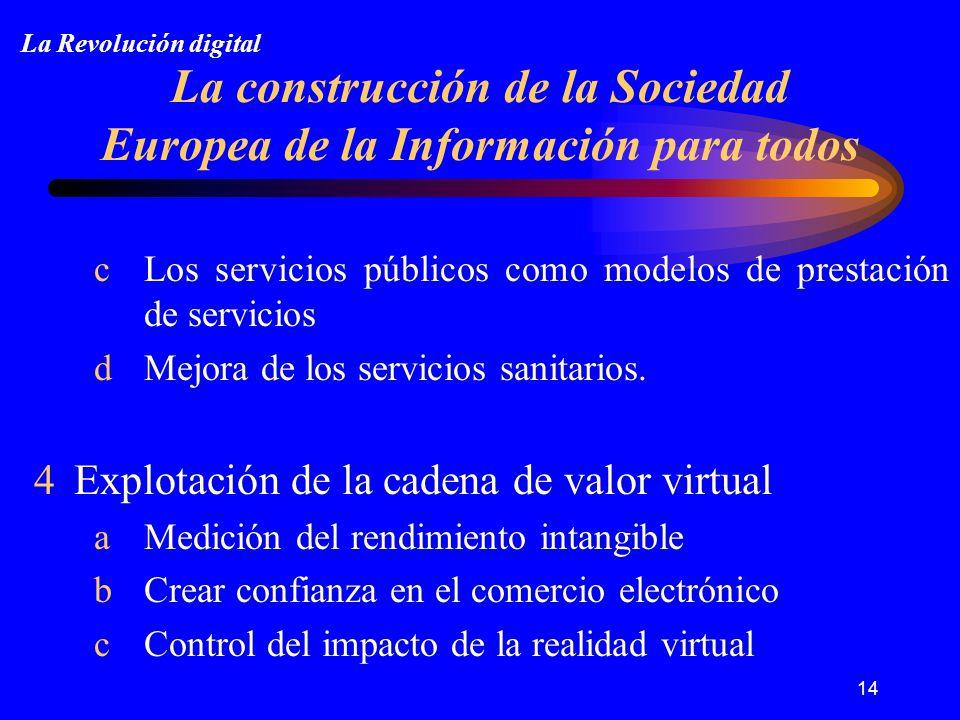 14 La construcción de la Sociedad Europea de la Información para todos cLos servicios públicos como modelos de prestación de servicios dMejora de los servicios sanitarios.