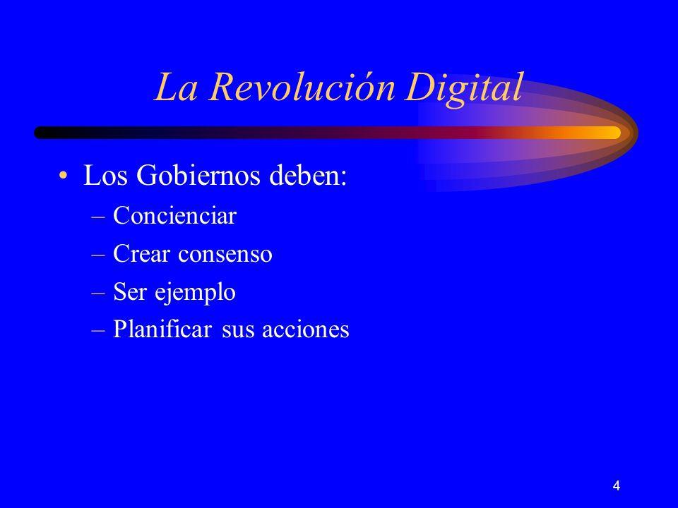 4 La Revolución Digital Los Gobiernos deben: –Concienciar –Crear consenso –Ser ejemplo –Planificar sus acciones