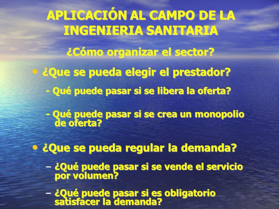 APLICACIÓN AL CAMPO DE LA INGENIERIA SANITARIA ¿Cómo organizar el sector.