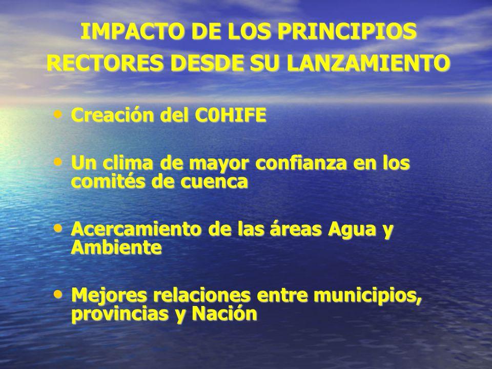 IMPACTO DE LOS PRINCIPIOS RECTORES DESDE SU LANZAMIENTO Creación del C0HIFE Creación del C0HIFE Un clima de mayor confianza en los comités de cuenca U