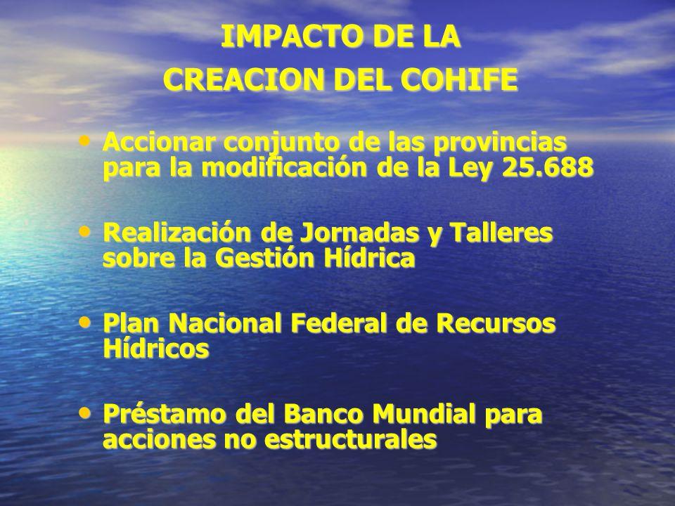 IMPACTO DE LA CREACION DEL COHIFE Accionar conjunto de las provincias para la modificación de la Ley 25.688 Accionar conjunto de las provincias para l