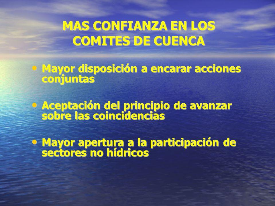 MAS CONFIANZA EN LOS COMITES DE CUENCA Mayor disposición a encarar acciones conjuntas Mayor disposición a encarar acciones conjuntas Aceptación del pr