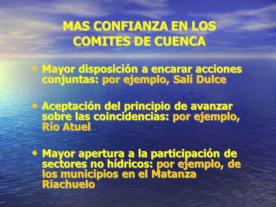 MAS CONFIANZA EN LOS COMITES DE CUENCA Mayor disposición a encarar acciones conjuntas: por ejemplo, Salí Dulce Mayor disposición a encarar acciones co