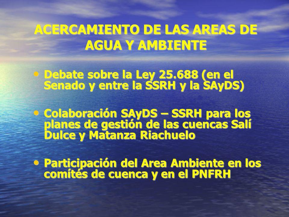 ACERCAMIENTO DE LAS AREAS DE AGUA Y AMBIENTE Debate sobre la Ley 25.688 (en el Senado y entre la SSRH y la SAyDS) Debate sobre la Ley 25.688 (en el Senado y entre la SSRH y la SAyDS) Colaboración SAyDS – SSRH para los planes de gestión de las cuencas Salí Dulce y Matanza Riachuelo Colaboración SAyDS – SSRH para los planes de gestión de las cuencas Salí Dulce y Matanza Riachuelo Participación del Area Ambiente en los comítés de cuenca y en el PNFRH Participación del Area Ambiente en los comítés de cuenca y en el PNFRH