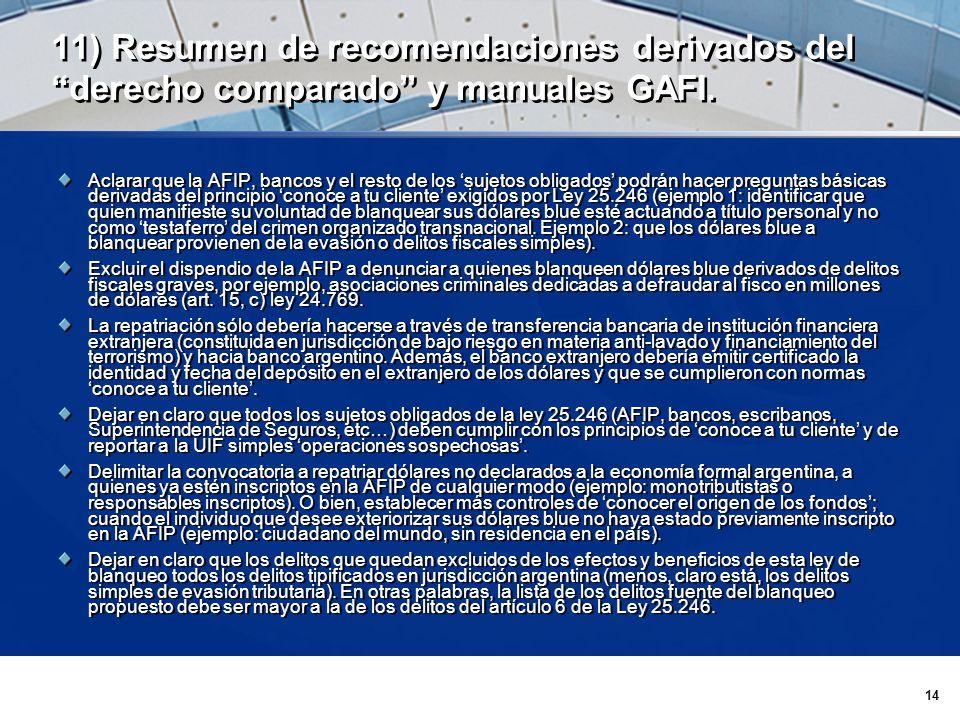 14 11) Resumen de recomendaciones derivados del derecho comparado y manuales GAFI.