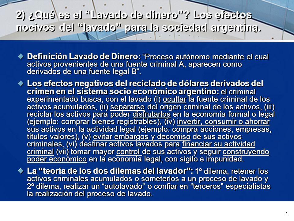 4 2) ¿Qué es el Lavado de dinero. Los efectos nocivos del lavado para la sociedad argentina.