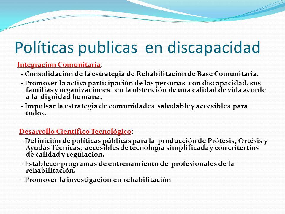 Políticas publicas en discapacidad Integración Comunitaria: - Consolidación de la estrategia de Rehabilitación de Base Comunitaria. - Promover la acti