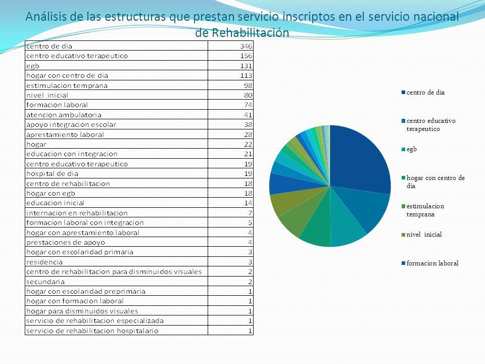 Análisis de las estructuras que prestan servicio inscriptos en el servicio nacional de Rehabilitación