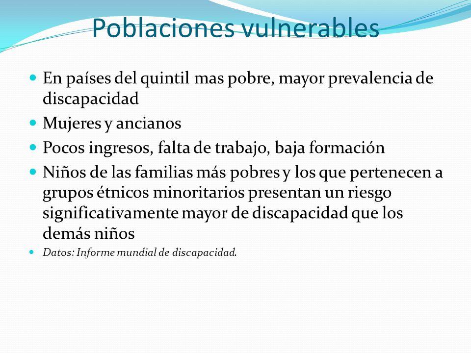 Poblaciones vulnerables En países del quintil mas pobre, mayor prevalencia de discapacidad Mujeres y ancianos Pocos ingresos, falta de trabajo, baja f
