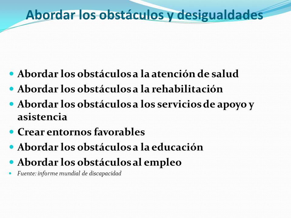 Abordar los obstáculos y desigualdades Abordar los obstáculos a la atención de salud Abordar los obstáculos a la rehabilitación Abordar los obstáculos