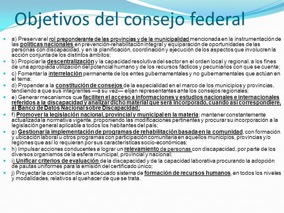 Objetivos del consejo federal rol preponderante de las provincias y de la municipalidad a) Preservar el rol preponderante de las provincias y de la mu