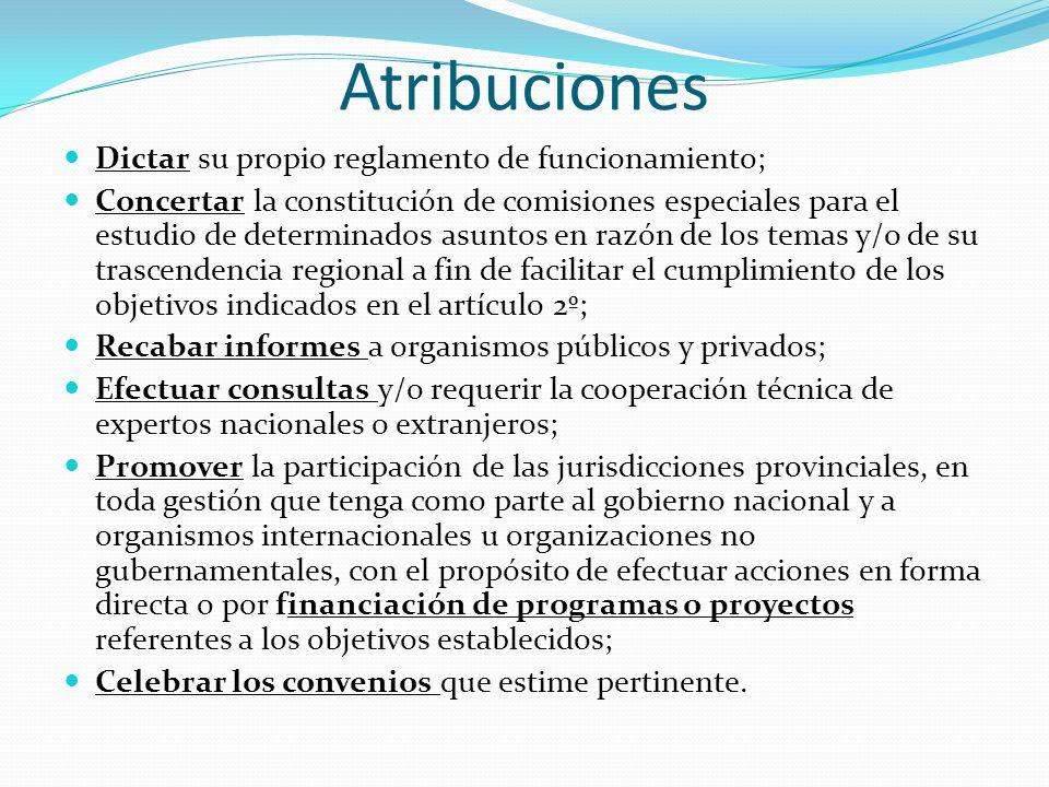 Atribuciones Dictar su propio reglamento de funcionamiento; Concertar la constitución de comisiones especiales para el estudio de determinados asuntos