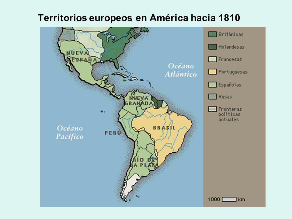 Territorios europeos en América hacia 1810