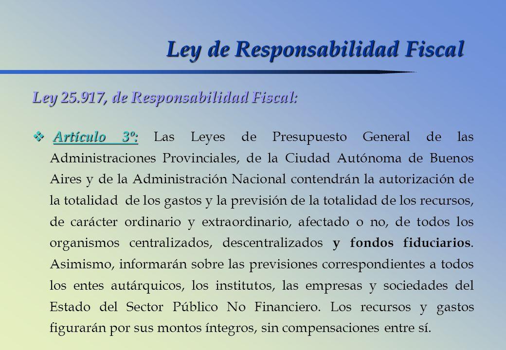 Ley 25.917, de Responsabilidad Fiscal: Artículo 3º: Artículo 3º: Las Leyes de Presupuesto General de las Administraciones Provinciales, de la Ciudad A