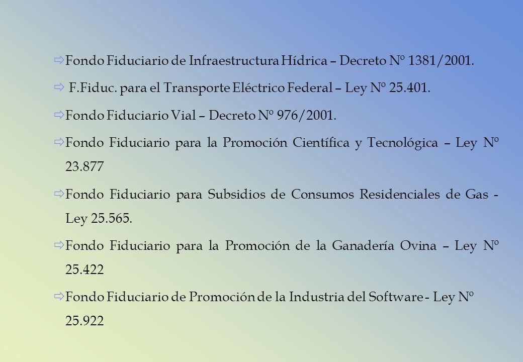 Fondo Fiduciario de Infraestructura Hídrica – Decreto Nº 1381/2001. F.Fiduc. para el Transporte Eléctrico Federal – Ley Nº 25.401. Fondo Fiduciario Vi