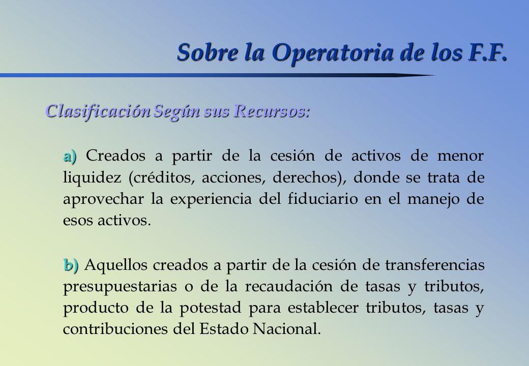 Sobre la Operatoria de los F.F. Clasificación Según sus Recursos: a) a) Creados a partir de la cesión de activos de menor liquidez (créditos, acciones