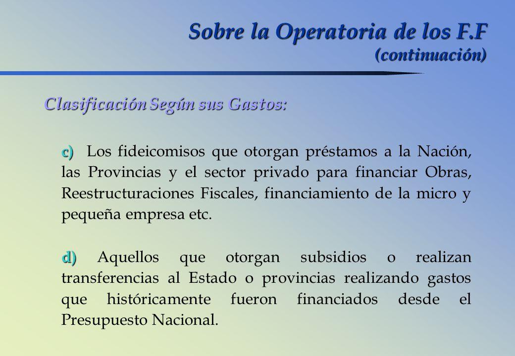 Sobre la Operatoria de los F.F (continuación) Clasificación Según sus Gastos: c) c) Los fideicomisos que otorgan préstamos a la Nación, las Provincias