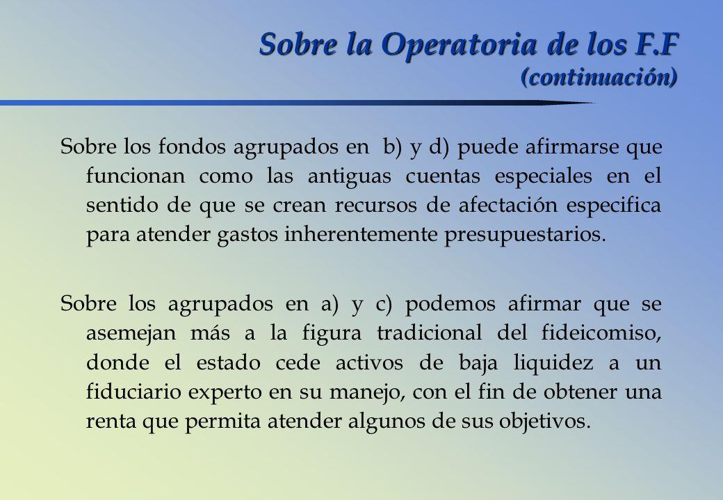 Sobre la Operatoria de los F.F (continuación) Sobre los fondos agrupados en b) y d) puede afirmarse que funcionan como las antiguas cuentas especiales