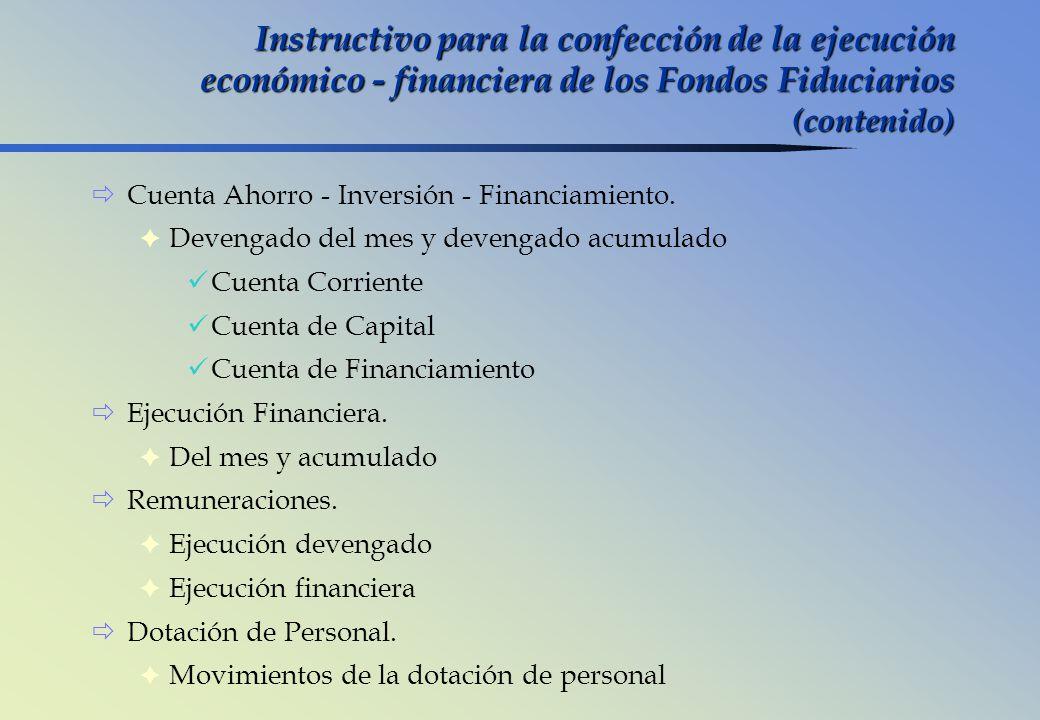 Instructivo para la confección de la ejecución económico - financiera de los Fondos Fiduciarios (contenido) Cuenta Ahorro - Inversión - Financiamiento