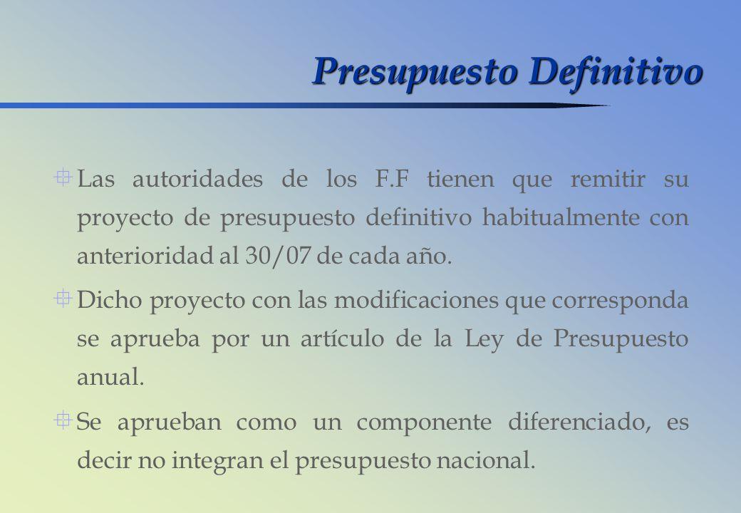Presupuesto Definitivo Las autoridades de los F.F tienen que remitir su proyecto de presupuesto definitivo habitualmente con anterioridad al 30/07 de