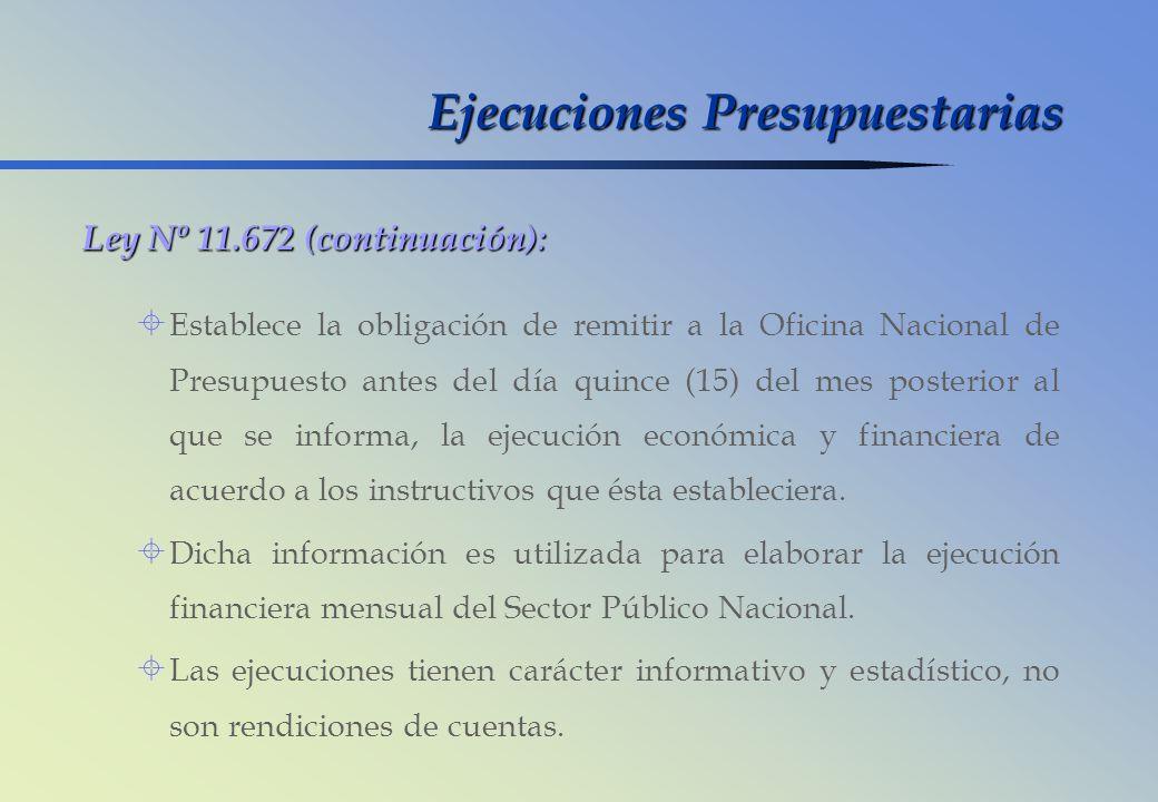 Ley Nº 11.672 (continuación): Establece la obligación de remitir a la Oficina Nacional de Presupuesto antes del día quince (15) del mes posterior al q