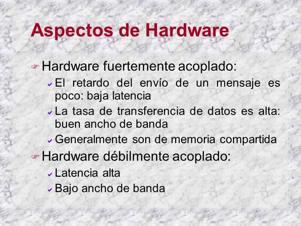 Aspectos de Hardware Hardware fuertemente acoplado: El retardo del envío de un mensaje es poco: baja latencia La tasa de transferencia de datos es alta: buen ancho de banda Generalmente son de memoria compartida Hardware débilmente acoplado: Latencia alta Bajo ancho de banda