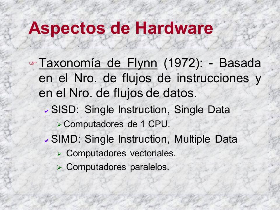 Aspectos de Hardware Taxonomía de Flynn (1972): - Basada en el Nro. de flujos de instrucciones y en el Nro. de flujos de datos. SISD: Single Instructi