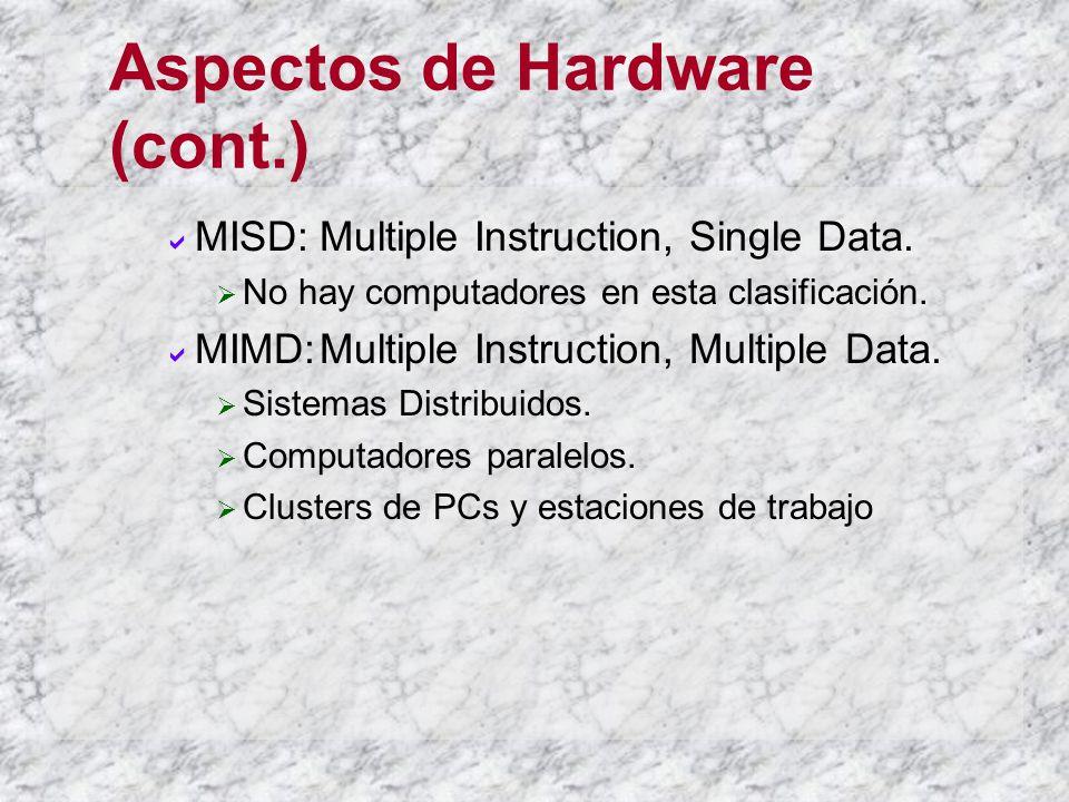 Aspectos de Hardware (cont.) MISD:Multiple Instruction, Single Data. No hay computadores en esta clasificación. MIMD:Multiple Instruction, Multiple Da