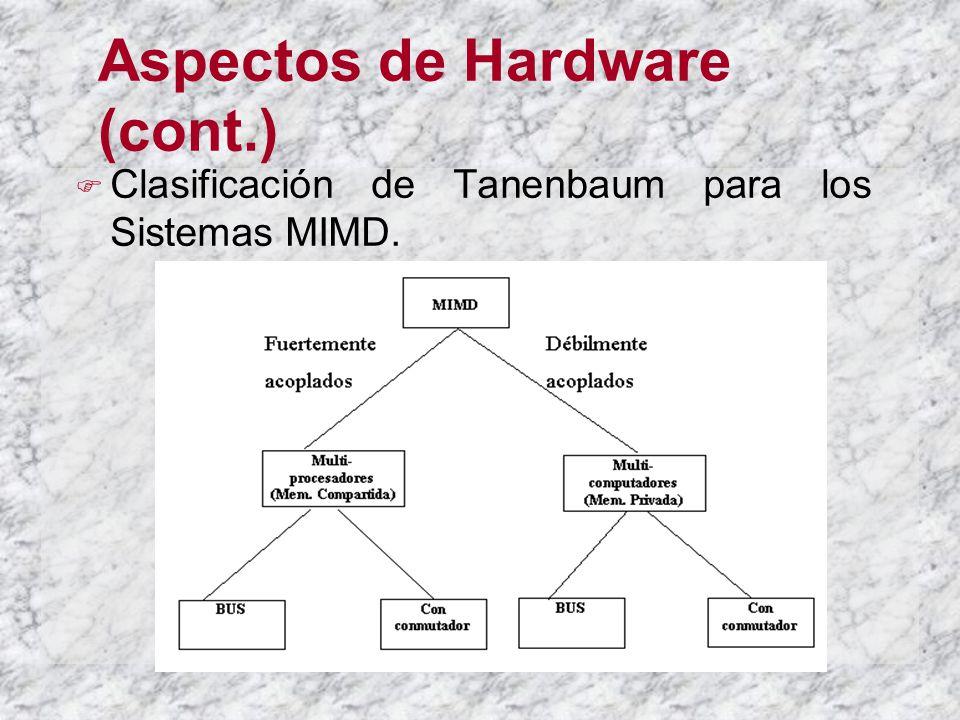 Aspectos de Hardware (cont.) Clasificación de Tanenbaum para los Sistemas MIMD.