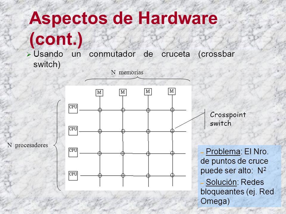 Aspectos de Hardware (cont.) Usando un conmutador de cruceta (crossbar switch) N procesadores N memorias Crosspoint switch – Problema: El Nro.