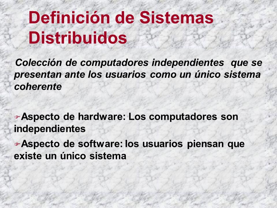 Definición de Sistemas Distribuidos Colección de computadores independientes que se presentan ante los usuarios como un único sistema coherente Aspecto de hardware: Los computadores son independientes Aspecto de software: los usuarios piensan que existe un único sistema