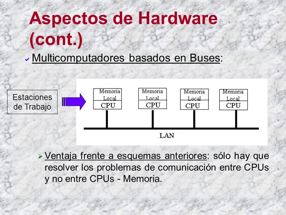 Aspectos de Hardware (cont.) Multicomputadores basados en Buses: Ventaja frente a esquemas anteriores: sólo hay que resolver los problemas de comunica