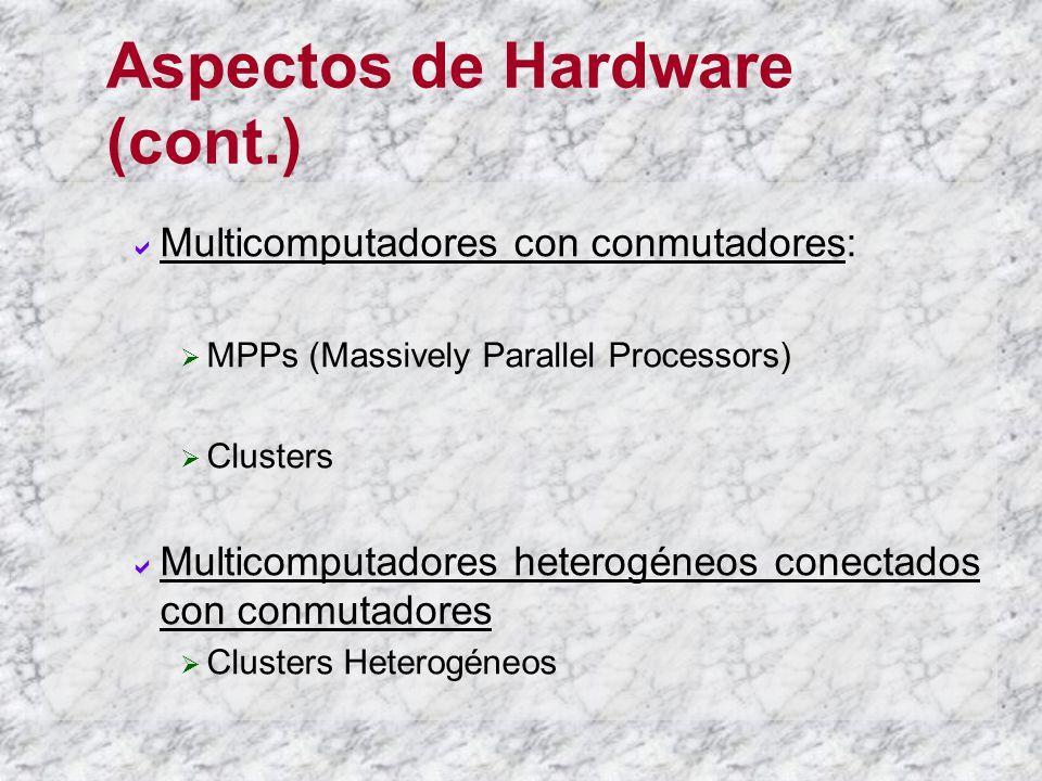 Aspectos de Hardware (cont.) Multicomputadores con conmutadores: MPPs (Massively Parallel Processors) Clusters Multicomputadores heterogéneos conectad