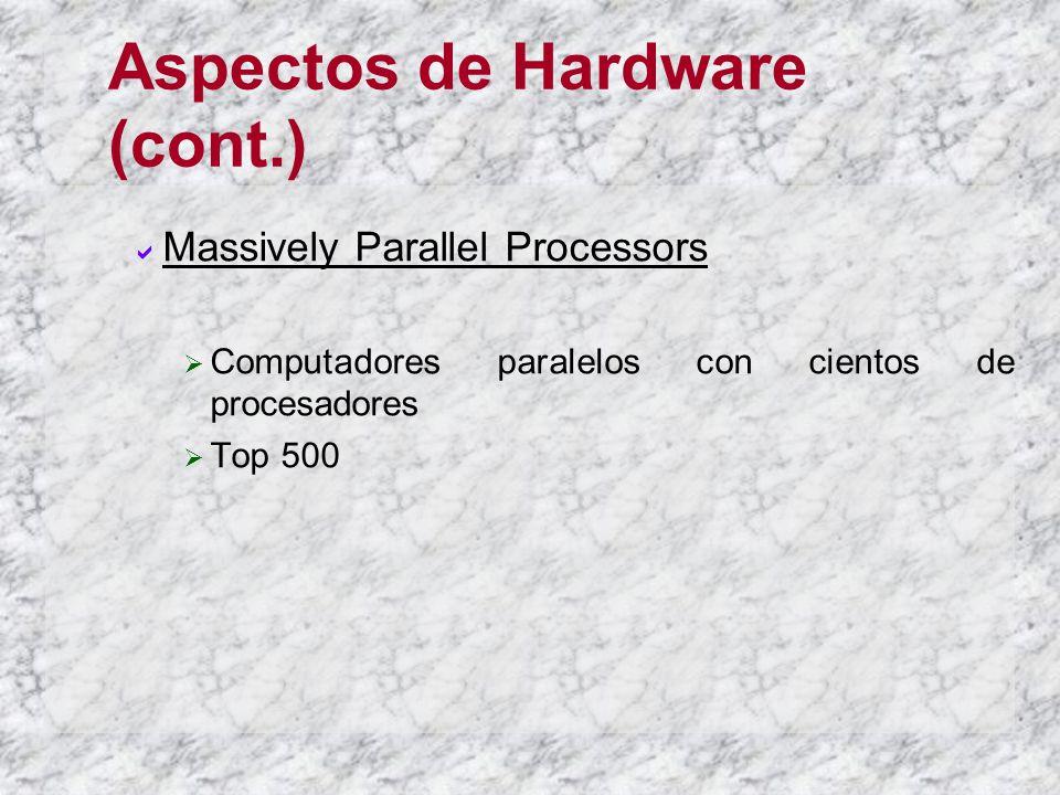 Aspectos de Hardware (cont.) Massively Parallel Processors Computadores paralelos con cientos de procesadores Top 500