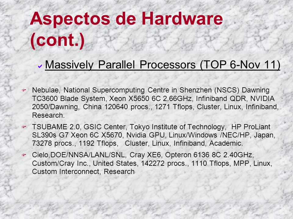 Aspectos de Hardware (cont.) Massively Parallel Processors (TOP 6-Nov 11) Nebulae, National Supercomputing Centre in Shenzhen (NSCS) Dawning TC3600 Bl