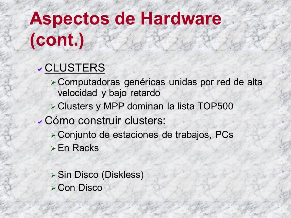 Aspectos de Hardware (cont.) CLUSTERS Computadoras genéricas unidas por red de alta velocidad y bajo retardo Clusters y MPP dominan la lista TOP500 Có