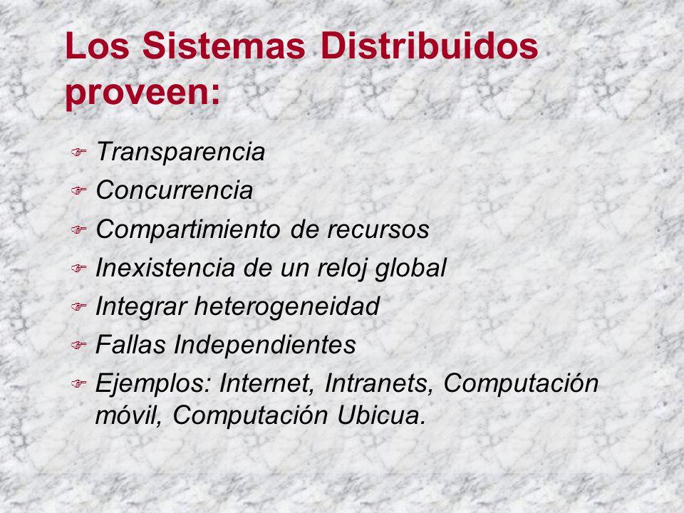 Los Sistemas Distribuidos proveen: Transparencia Concurrencia Compartimiento de recursos Inexistencia de un reloj global Integrar heterogeneidad Fallas Independientes Ejemplos: Internet, Intranets, Computación móvil, Computación Ubicua.