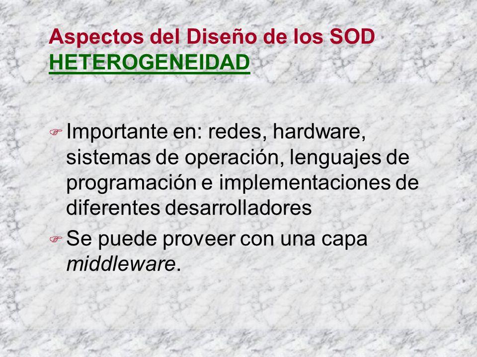 Aspectos del Diseño de los SOD HETEROGENEIDAD Importante en: redes, hardware, sistemas de operación, lenguajes de programación e implementaciones de diferentes desarrolladores Se puede proveer con una capa middleware.