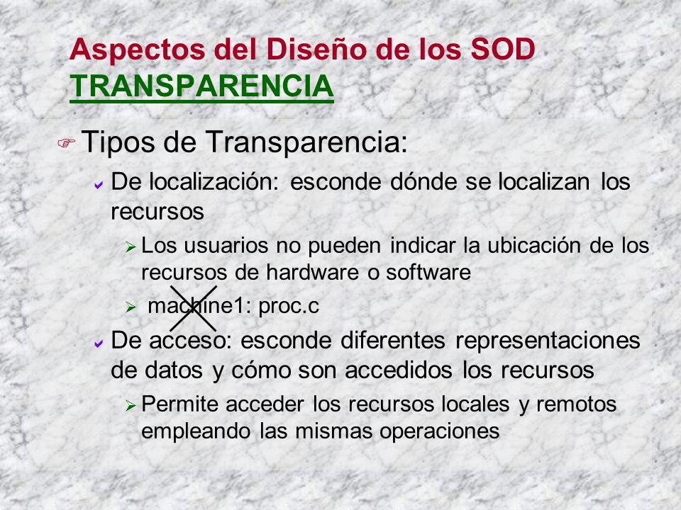 Aspectos del Diseño de los SOD TRANSPARENCIA Tipos de Transparencia: De localización: esconde dónde se localizan los recursos Los usuarios no pueden i
