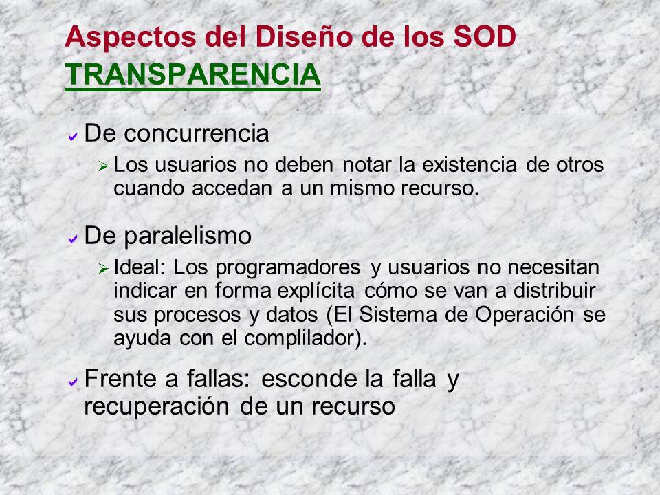 Aspectos del Diseño de los SOD TRANSPARENCIA De concurrencia Los usuarios no deben notar la existencia de otros cuando accedan a un mismo recurso. De